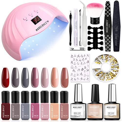 Gel Nail Polish Kit with U V Light 48W LED Nail Lamp Modelones 7 Colors Shellac Gel Nail Polish Set, Base Top Coat, Nail Primer, Nail Art decorations, Manicure Tool, Integrated Manicure Kit with Light
