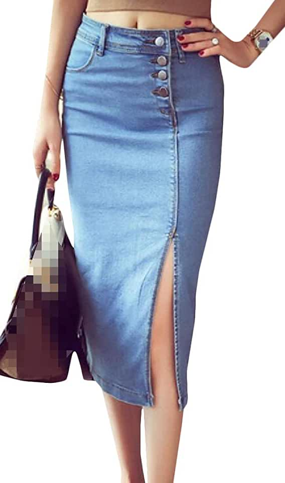CMCYY Women Package Hip Button Sexy Fashion Split Denim Long Skirt