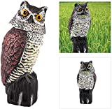 CLEYCYE Fake Owl Scarecrow Sculpture with Rotating Head for Outdoor Garden Yards