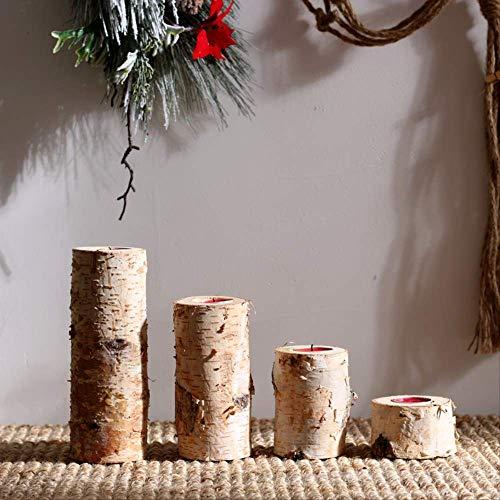 SEHBDY Kerzenhalter Birke Kerzenständer Natürliche Stamm Tischplatte Boden Partei Hochzeit Kerzenständer EIN Satz von 4 Birkenkerzen