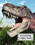 "Accounting Ledger Book: Dinosaur Tarbosaurus Cover   For Bookkeeping   6 Column   Size 8.5"" x 11"" By Ronny Kellner"