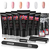 Gershion Poly Nail Gel Kit 30ml Nail Builder Gel Extension Nail Gel Kit Trendy Nail Art French Professional Technician Nail Salon Easy DIY for Beginner at Home All-in-One Kit Gift Set S-01