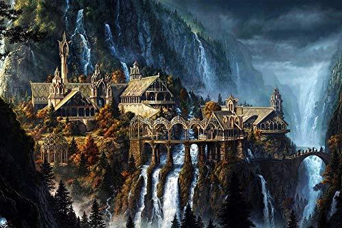 Alesxi The Elf Castle Plane 1000 Pieces Puzzle Jigsaw Puzzle Fantasy Landscape for Adults Teens Puzzles Toys