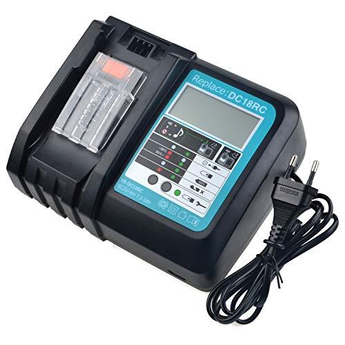 Caricatore di ricambio DC18RA DC18RC da 3 A, compatibile con batterie Makita da 14,4 Volt e 18 Volt BL1860 BL1850 BL1840 BL1830 BL1430 BL1440 BL1450 (con schermo a LED)