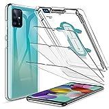 LK 4 StüCK schutzfolie kompatibel mit Samsung Galaxy A51, 3 Schutzfolie & 1 Silikonhülle mit Rahmen für Installation, 9H Festigkeit, HD Klar Folie, Kratzen Blasenfrei
