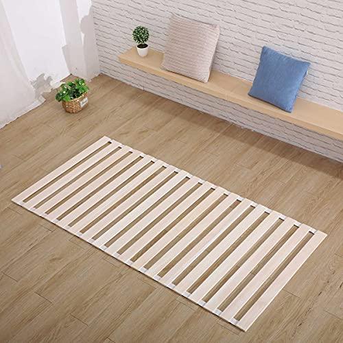 すのこマット ホワイト 桐 ロール式 シングル 天然木 折りたたみ ベッド通気性 (木の色)