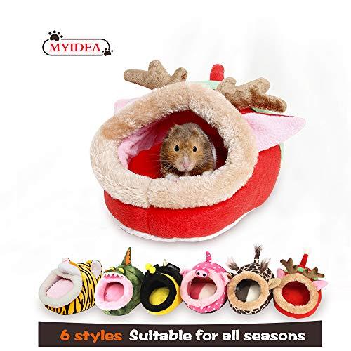 MYIDEA Hamster Nest - Hedgehog Litter ,Suger Glider, Lizard,Hamster Hideout & Small pet Animals Bed/Cube/House, Habitat, Lightweight, Durable, Portable, (Small Pet - S, Red elk)