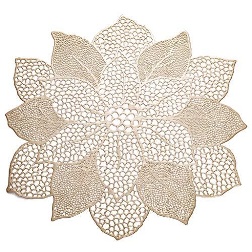YFairy Set de table – 47 x 44 cm creux en forme de fleur de lotus pour salle à manger Isolation métallisée Dessous de verre en PVC 3 couleurs b