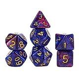 L.J.JZDY Dado Dados de Nebulosa Dados poliédricos 7pcs con Bolsa de cordón Negro para Juegos de Mesa (Color : Deep Purple, Size : Gratis)