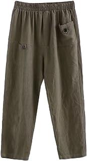Minibee Women's Elastic Waist Casual Crop Linen Pull On...