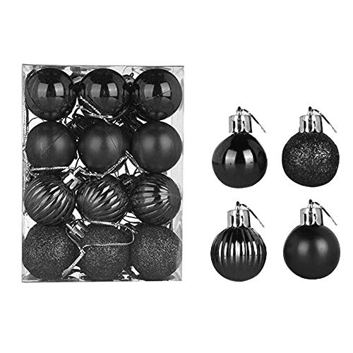 24 pcs Christmas Balls Ornaments Xmas Trees, Wedding Party Decoration Window Dressing, Christmas Tree Decoration Ball (3cm/1.1 inch, Black)