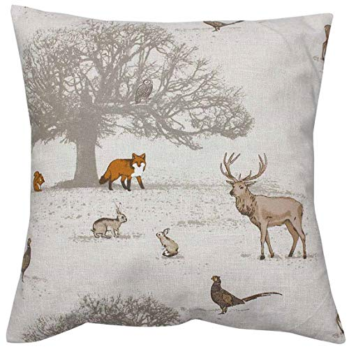 Harrison Cropper Tatton Woodland Animal Cushion Cover (18', Cream Cotton Envelope Back)