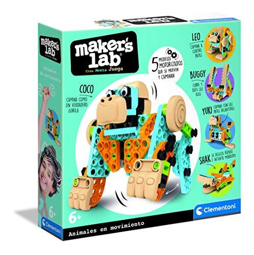 Clementoni-55374 - Mechanics Junior - Animales en movimiento - juego construcciones animales a partir de 6 años