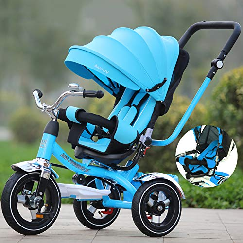 Bébé GUO@ Tricycle inclinable Trolley Portable Poussette 1-3-5 Ans Titanium Roue Vide Transport
