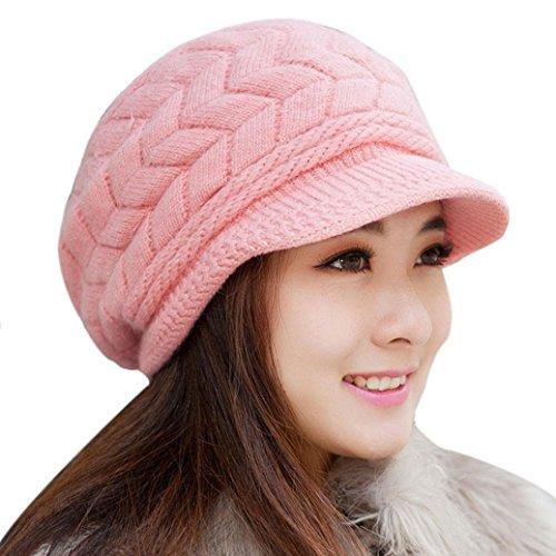 Kfnire Casquettes visières, Chapeaux d hiver pour Femmes Filles Chaude en Laine tricoté Chapeau de Cran de Ski de Neige avec visière (Rose)