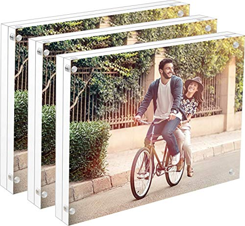 Cq acrylic 3Pack 4x6 Acrylic Magnetic Picture Frame,Square...