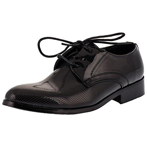 Festliche Kinder Anzug Schuhe mit Einer Innensohle aus echtem Leder M334sw Schwarz 40
