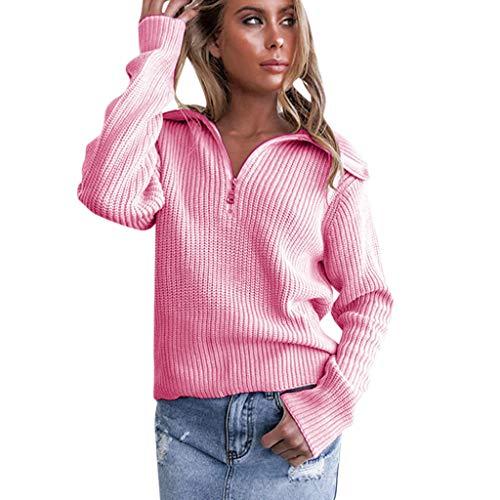 Toxz - Suéter de manga larga con cierre para mujer, Rosado, S