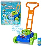 KreativeKraft Lawn Bubble Mower Push Along Toy Lawnmower For Kids And Toddlers With Bubble Machine Soapy Solution Included | Gift Idea For Children From Age 3 | Garden Play Tools And Accessories