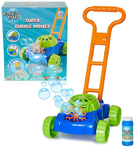 KreativeKraft Lawn Bubble Mower Push Along Toy Lawnmower For Kids And Toddlers With Bubble Machine Soapy Solution Included | Gift Idea For Children