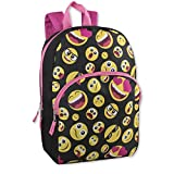 "Trail maker Kids Character Backpacks for Boys & Girls (15"") with Adjustable, Padded Back Straps (Emoji Girl)"