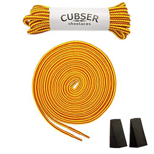 CUBSER 3 Paar extrem reißfeste Schnürsenkel – 5mm, rund, ideal für Wanderschuhe, Trekkingschuhe, Arbeitsschuhe und starke Beanspruchung, mit Schnürsenkel Fixator (140cm, Gelb-Feuerwehrrot)