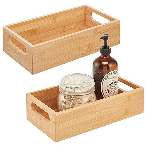 mDesign 2er-Set Aufbewahrungsbox mit Griffen – praktische Holzbox zur Aufbewahrung – für Kosmetik- und Pflegeprodukte – offene Ablage aus Bambusholz fürs Badezimmer – naturfarben