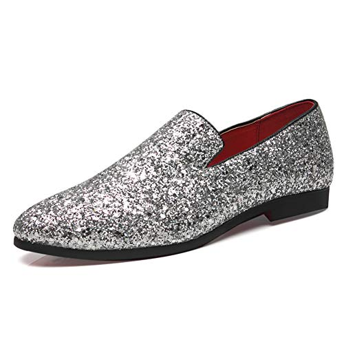 Zhang Herren Mokassin Sommer/Herbst britischen Hochzeit Beiläufiges Party & Evening Loafers & BelegONS Glitter/Sekt Glitter/Office & Karriere Schwarz/Gold/Silber,Silber,43