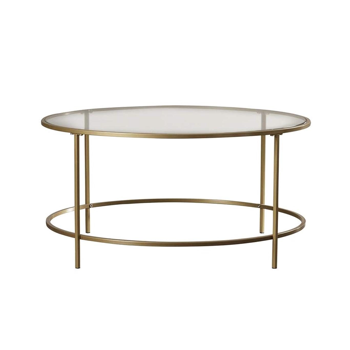 結婚した心配するかる鉄の芸術の丸テーブル、居間の大きいガラス茶テーブルの透明なダイニングテーブルのコーヒーテーブル56 * 56 * 45CM (サイズ さいず : 56*56*45cm)