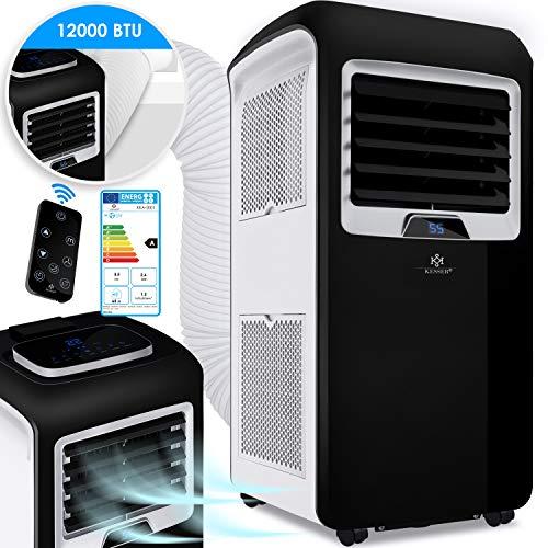 KESSER® - Klimaanlage Mobiles Klimagerät 4in1 kühlen, Luftentfeuchter, lüften, Ventilator - 12.000 BTU/h (3.500 Watt) 3,5 KW Klima + Montagematerial Fernbedienung und Timer Nachtmodus EEK: A Schwarz