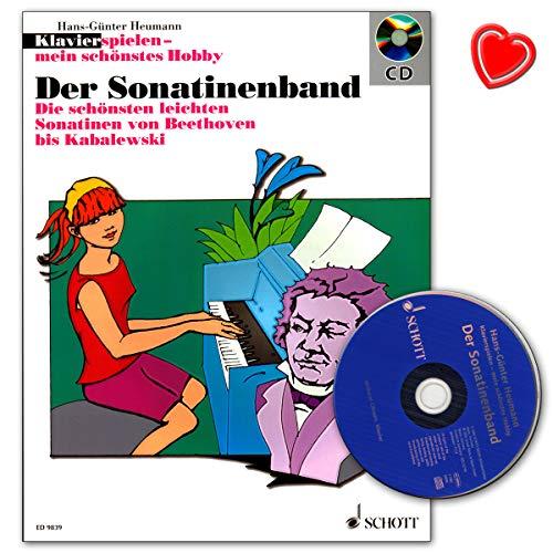 La banda de sonatina, piano juega mi mejor hobby, sonatinas ligeras de Beethoven hasta Kabalewski con pinza en forma de corazón