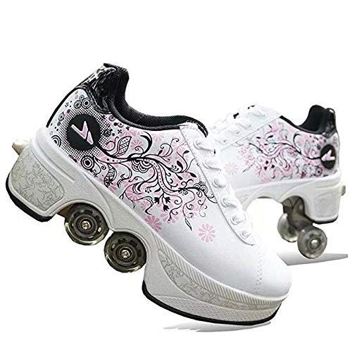 NOBRAND Multifunktionale verformte Schuhe für Kinder, Studenten, Erwachsene, Rollschuhe, Rollschuhe, Outdoor, Sport, Skaten, Reisen, beste Wahl, weiß, 39