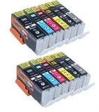 Start - 12 Cartouches d'encre compatibles Canon PGI-550XL CLI-551XL Grande capacité...