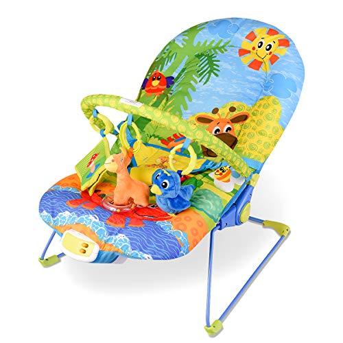 DREAMADE Babywippe mit musik und vibration, Baby Schaukelwippe Babyschaukel verstellbar, Babyliegestuhl Baby Schlafkorb, max.11 kg beslatbar (Grün)