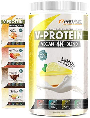 Vegan Proteinpulver – V-PROTEIN 4K Blend | + 4 Proben dazu | Unglaublich lecker & cremig | Aus Sonnenblumen, Soja, Hanf & Kürbis | Pflanzliches Eiweißpulver mit 80% Eiweiß | ZITRONE-KÄSEKUCHEN