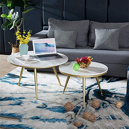 FACAZ White Marble Coffee Tables, Modern Coffee Table Tea Table 2 Small Side Tables Sofa Side Table Cocktail Table For Living Room (Circle)