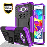 YmhxcY Galaxy Grand Prime Plus Phone Case,Galaxy J2 Prime Case with HD Screen Protector,Military Armor Drop Tested [Heavy Duty] Hybrid Case with Kickstand for Samsung Galaxy G530H-LT Purple
