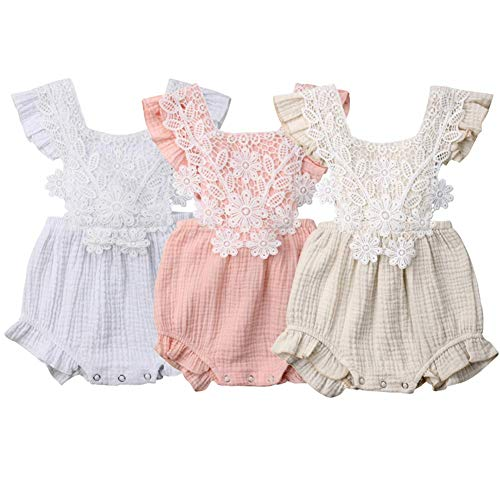 LAJIFENLEI Newborn Infant Baby Girl Lace Tulle Romper Sleeveless One Piece Bodysuit Jumpsuit Sunsuit Summer Clothes Outfits (White-2, 3-6m)