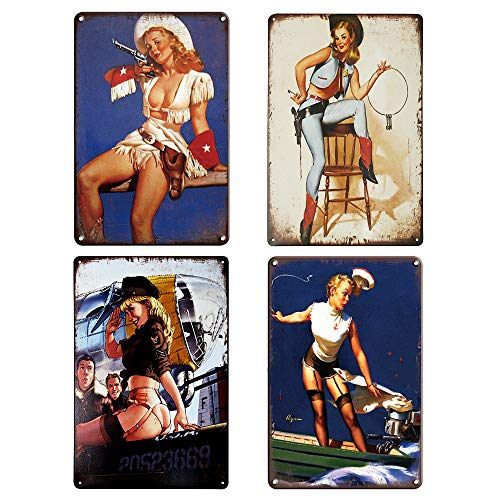 QUMENEY Set de 4 Cartel de Plaga de Metal Vintage para Pared, diseño de Chica Modelo Sexy, Cartel de decoración de Pared de hojalata para cafetería, Bar, Pub (30x20 CM / 11,8x7,9 Pulgadas)