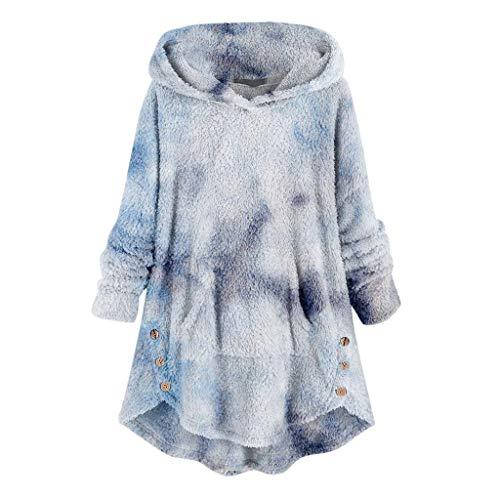 YSLMNOR Tie Dyed Fleece Blouse Womens Asymmetrical Button Hem Hoodie with Pocket Plus Size Tops Blue