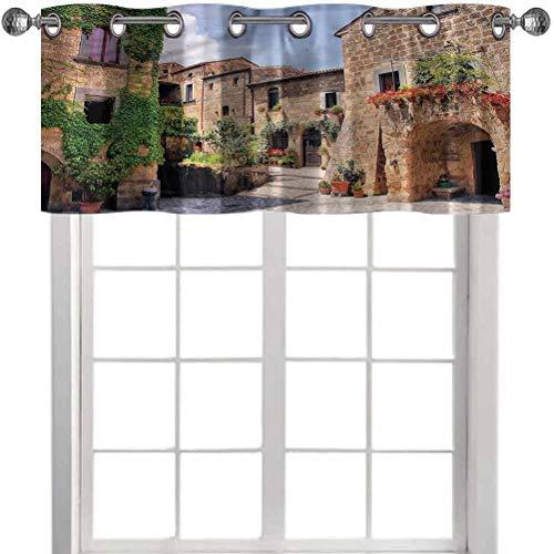 Aishare Store Window Curtain Valance, Tuscany,Italian Streets Countryside, 42' W x 18' L Curtain Valances for Window Kitchen(1 Panel)