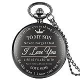 男の子のためのスタイリッシュなブラッククォーツ懐中時計、息子のための「I Love You」パターン懐中時計、子供のためのチェーン付き耐久性のあるペンダント時計