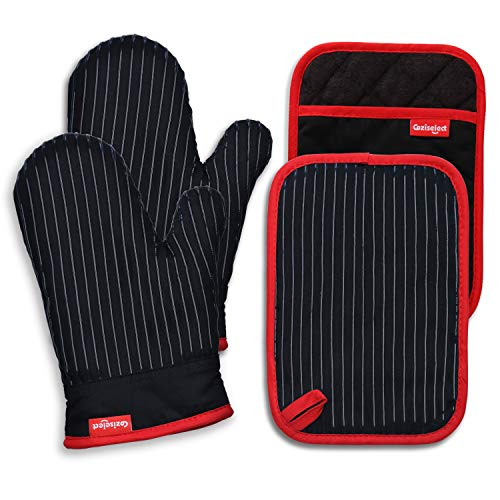 Coziselect Oven Mitts and Pot Holders Set, with Heat Resistance of Silicone, Flexibility of Pure Cotton and Terrycloth Lining, 500 F Heat Resistant, Black