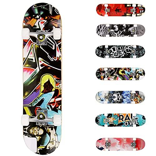 WeSkate Planche à roulettes pour Les débutants, 31 x 8'' Complète Skateboard 7 Plis Double Kick Concave Planche de Skate Anti-Dérapant Roues PU pour Les Enfants Jeunes et Adultes (coloré)