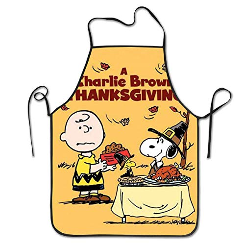 AOOEDM Apron Charlie Brown 's Delantales de Barbacoa para cocinar y Hornear de Acción de Gracias, Babero de Cocina Unisex para cocinar, jardinería, tamaño Adulto
