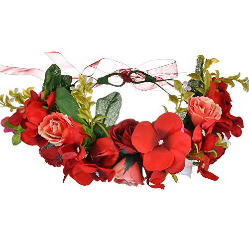 zhouba Bohemia rosa flor diadema novia boda Festival guirnalda corona cinta para el pelo Prom Hairwear rojo rosso talla /única