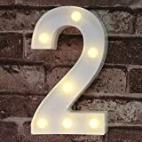 Decorative Led Light Up Number Letters, White Plastic Marquee Number Lights Sign...