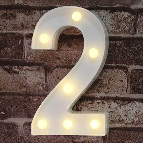 Decorative Led Light Up Number Letters, White Plastic Marquee Number Lights Sign Party Wedding Decor Battery Operated Number (2)