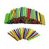 Rewiss Jumbo Colored Craft Popsicle Sticks Wood Craft Sticks Great for DIY Crafts Creative Design and Children Art Group Activities Projects 500 Pieces 4.3 Inch