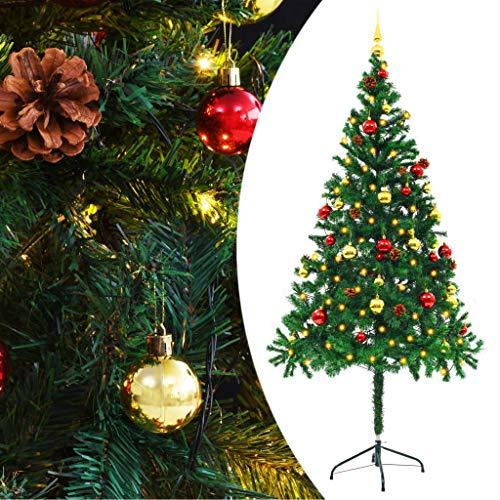 HUANGDANSP Árbol Navidad Artificial Decorado Bolas Luces LED 180 cm Verde Casa y jardín Decoración Decoraciones Festivas y estacionales Adornos Festivos
